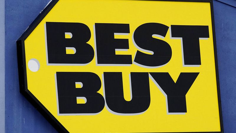 A Best Buy store sign is displayed in Arlington Heights, Ill., Saturday, Feb. 6, 2021. Best...