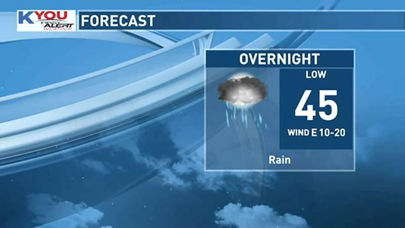 Rain develops tonight.
