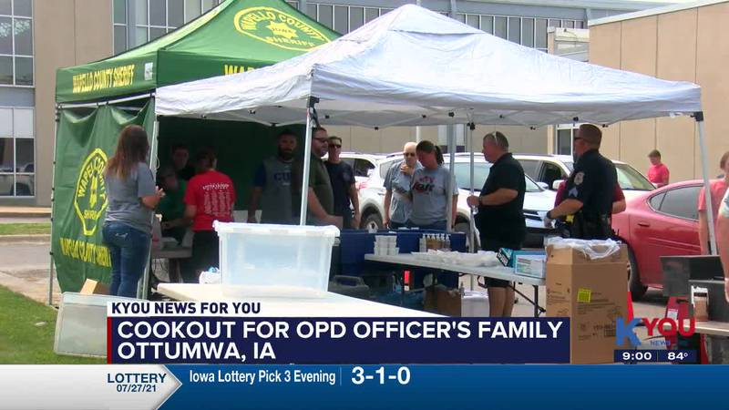 Ottumwa law enforcement rallied at a cookout to raise money for an Ottumwa Police Officer whose...
