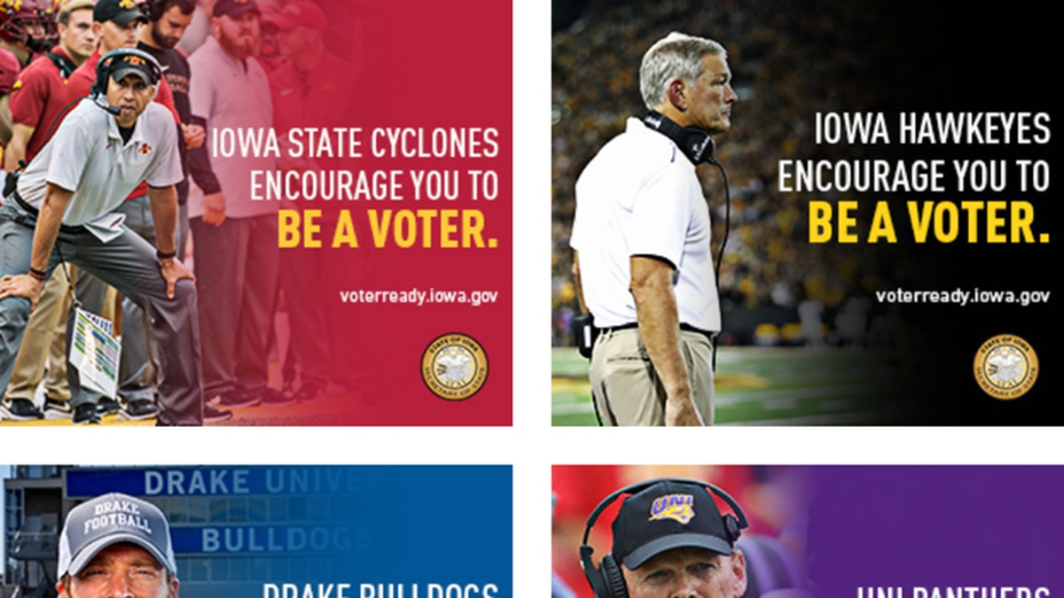 Iowa Secretary of State Paul Pate announces a new partnership with the college football coaches from the University of Iowa, Iowa State, Northern Iowa and Drake to promote voter registration and participation ahead of the 2020 general election. The four head coaches will appear in radio, social media and digital ads, encouraging Iowans to #BeAVoter.