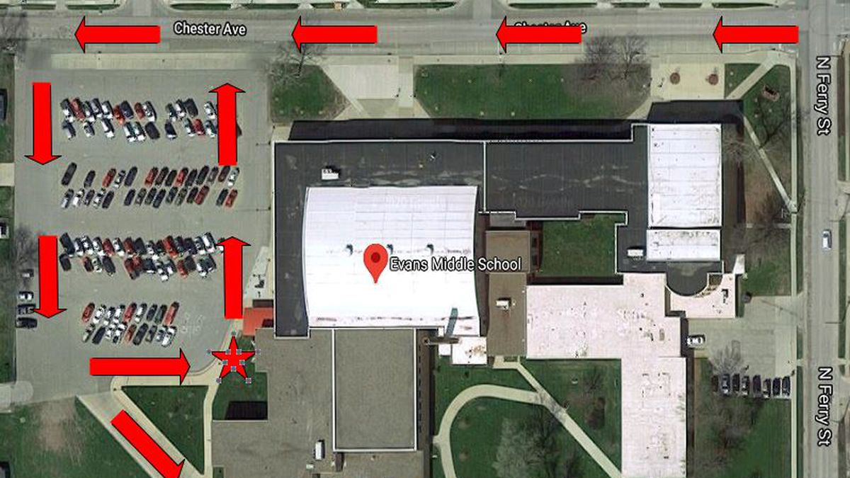Map for laptop distribution at Evans Middle School.