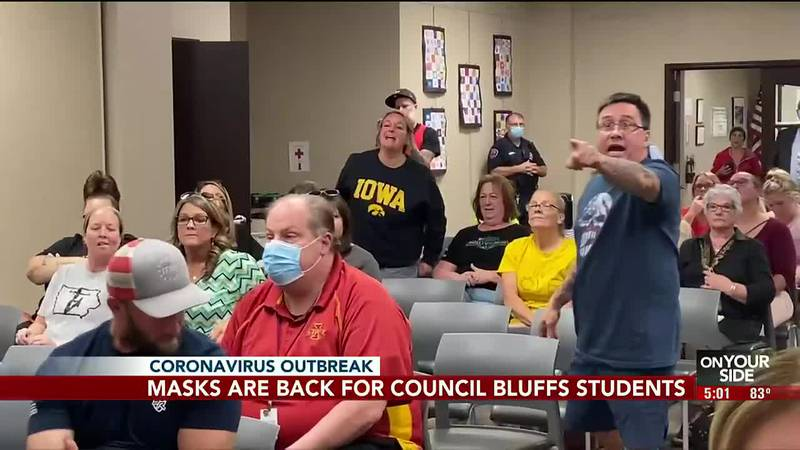 Students in Council Bluffs are wearing masks to class after a recent mandate requiring them in...