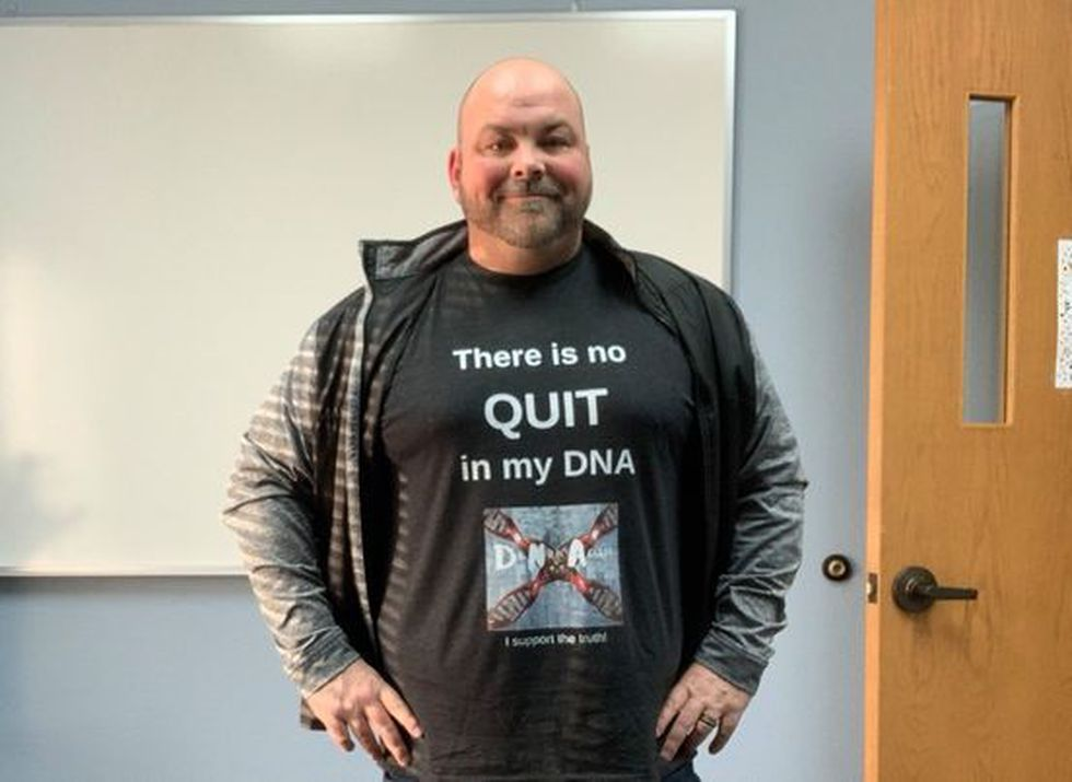 "B.J. Olson wears his ""There is no quit in my DNA"" shirt after fighting relentlessly with South..."
