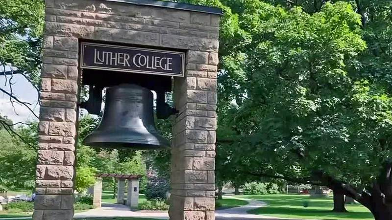 A bell on the Luther College campus in Decorah, Iowa.