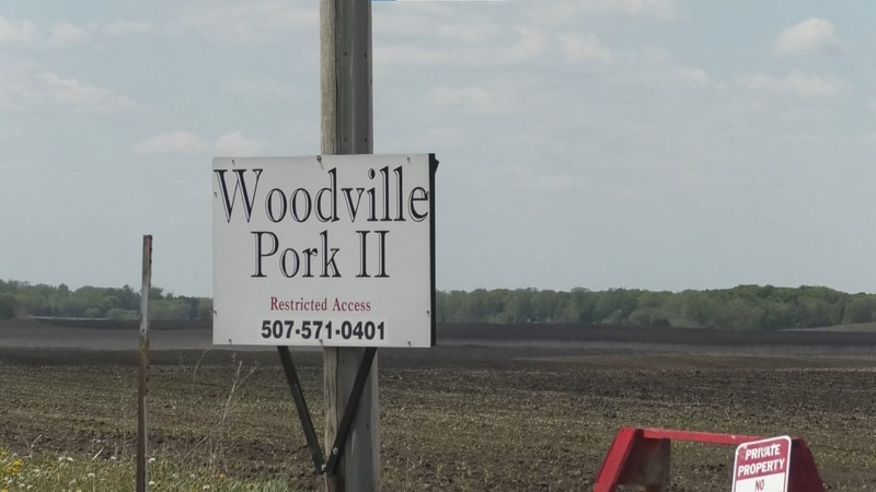A Woodville Pork sign is pictured Monday, May 17, 2021, in Waseca, Minn. The Waseca Police...