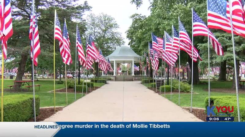 Flags fill the square in downtown Fairfield for Memorial Day