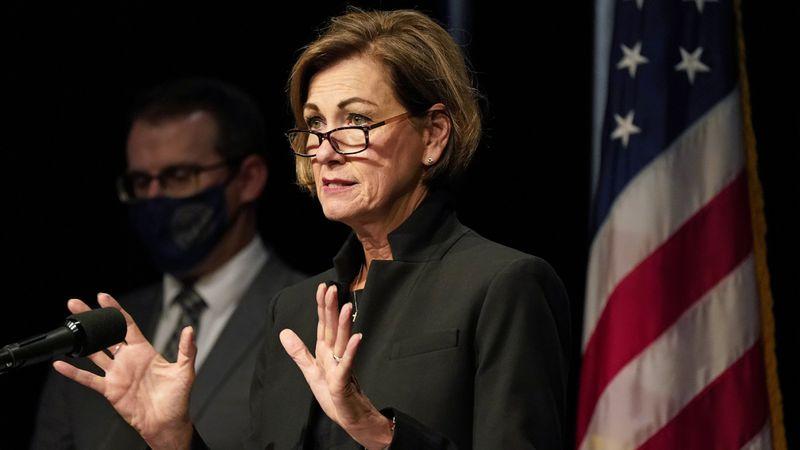 Iowa Gov. Kim Reynolds updates the state's response to the coronavirus outbreak during a news...