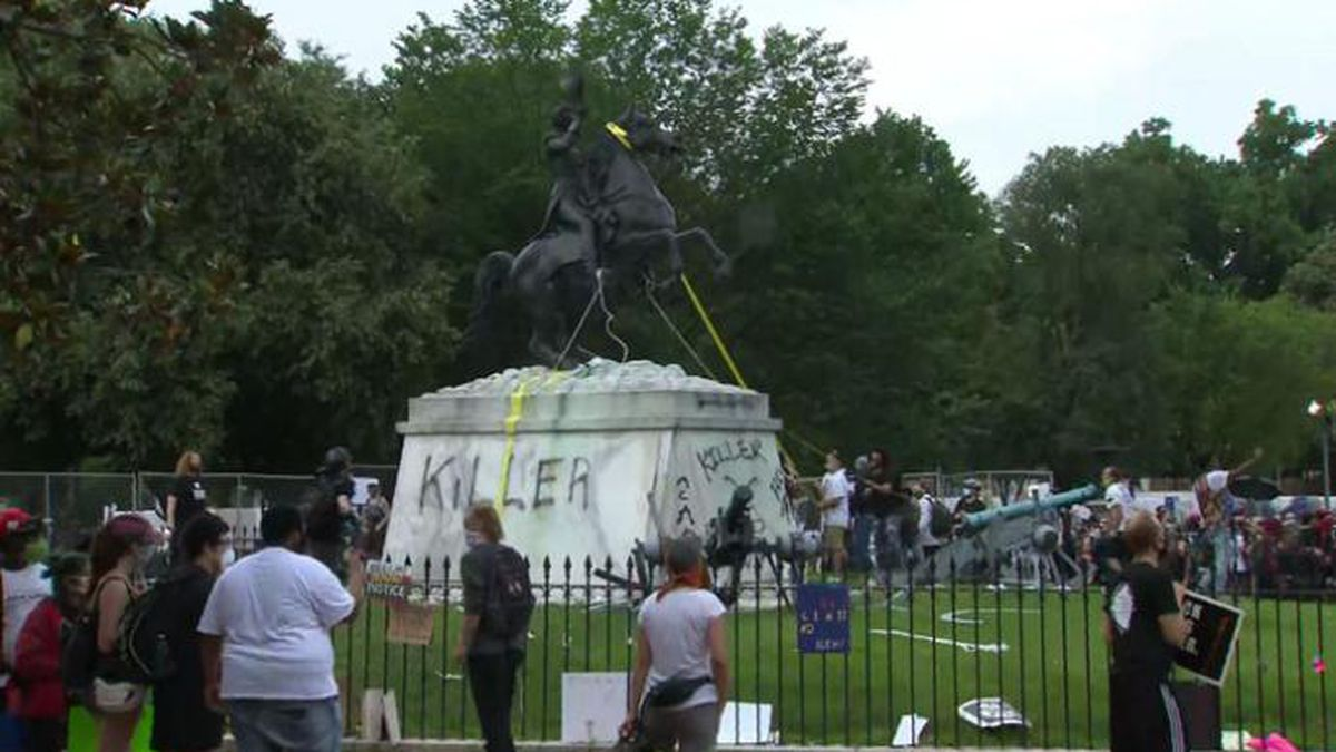 Police reportedly used pepper spray to move protesters out of Lafayette Square in Washington, D.C., after they attempted to pull down a statue of President Andrew Jackson.