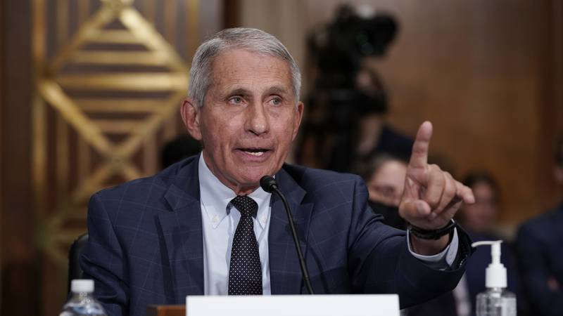 FILE - Top infectious disease expert Dr. Anthony Fauci responds to accusations by Sen. Rand...