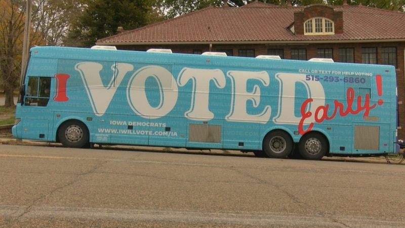 The Iowa Democrats tour around Iowa encouraging voting early and the merits of their candidates.