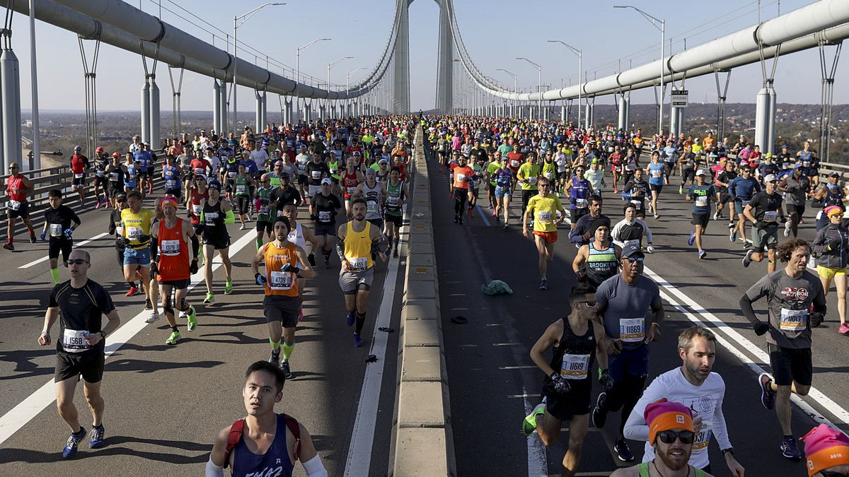 Runners make their way across the Verrazzano-Narrows Bridge during the start of the New York City Marathon, Sunday, Nov. 3, 2019, in New York.Runners make their way across the Verrazzano-Narrows Bridge during the start of the New York City Marathon, Sunday, Nov. 3, 2019, in New York. The New York City Marathon scheduled for Nov. 1, 2020, has been canceled because of the coronavirus pandemic.