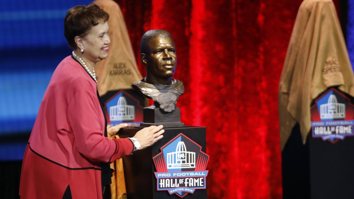 Sandra Wilkins smiles after unveiling the bust of her uncle Duke Slater at the Pro Football...