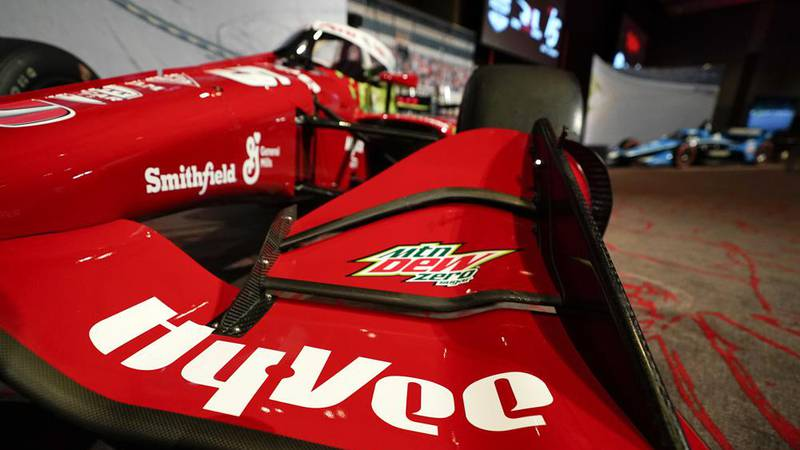 A Hy-Vee logo is seen on Graham Rahal's car during a news conference at Hy-Vee Corp....