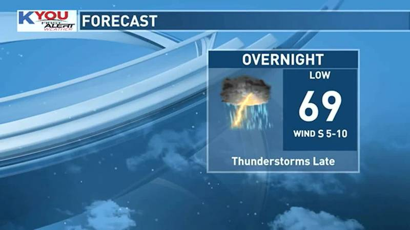 A few storms are possible toward daybreak.
