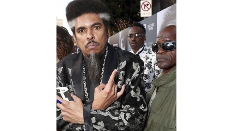 "In this photo provided by Nzazi Malonga, Shock G, left, poses at the ""All Eyez On Me"" film..."
