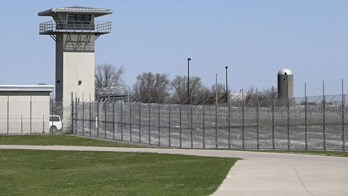 A guard tower watches over the vehicle entrance to the new Iowa State Penitentiary in Fort...