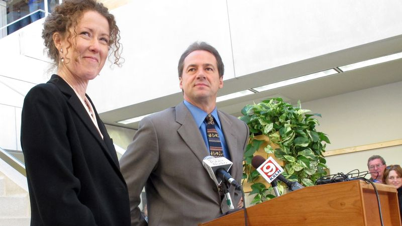 In this Dec. 14, 2012, file photo, Tracy Stone-Manning, left, is named by Gov.-elect Steve...