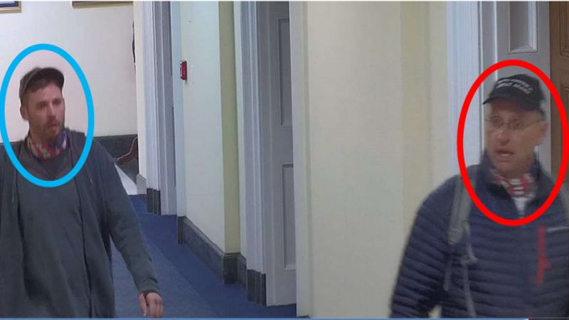 The FBI says that this surveillance photo shows Daniel Johnson, 29, left, of Austin, Minn., and...