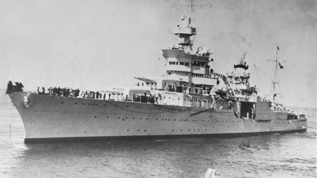 This is cruiser USS Indianapolis which was sunk month before end of World War II. (AP Photo)