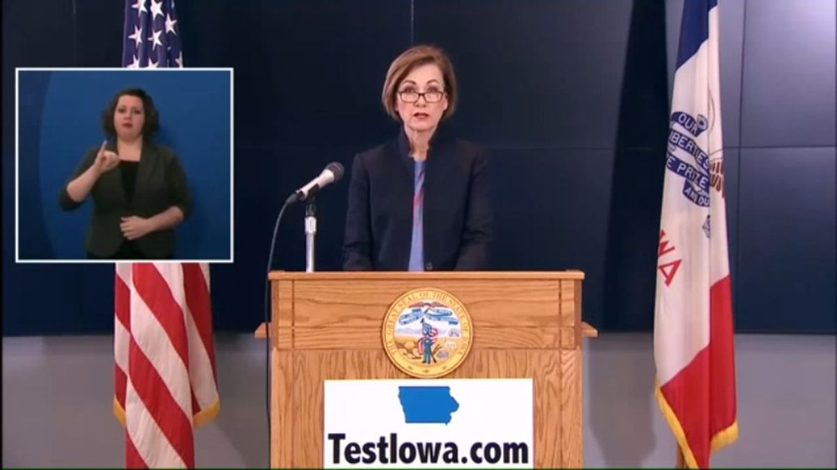 Gov. Kim Reynolds talks about the most recent developments in Iowa's COVID-19 response at her...