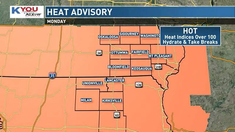 Heat advisory Monday