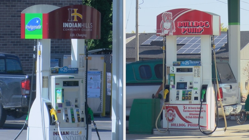 The competition promotes the gas pumps for the two schools - 3 cents of every gallon goes to...