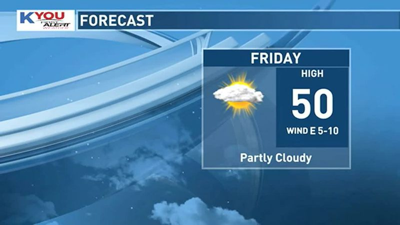 Look for a few more clouds on Friday, but still mild with highs in the low 50s.