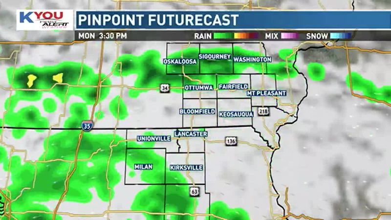 Scattered showers and an isolated thunderstorm will be possible overnight in eastern Iowa,...