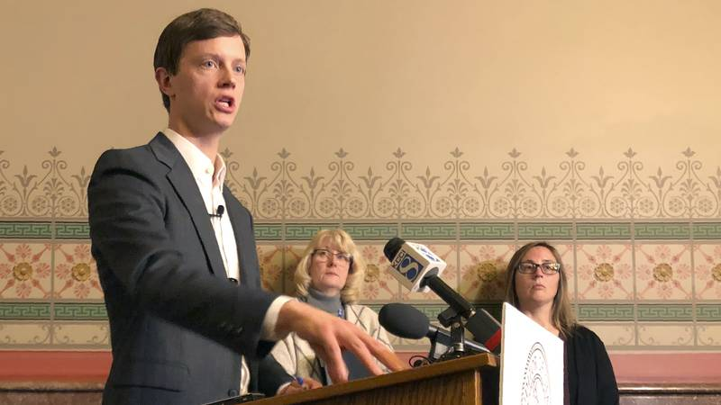 Iowa Auditor Rob Sand explains results of an audit his agency conducted of the Iowa Medicaid...